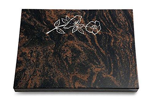 MEMORUM Grabmale Grabtafel, Grabplatte, Grabstein, Grabkissen, Urnengrabstein, Liegegrabstein Modell Pure 40 x 30 x 3-4 cm Aruba-Granit, poliert inkl. Gravur (Sandstrahl-Ornament Rose 1)