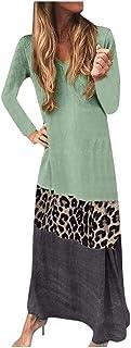 Vestito Donna Manica Lunga Cuciture Leopardate A Contrasto con Scollo A V Loose Floral Abito Cocktail (XL,Verde)