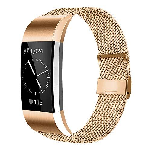 AK Kompatibel Für Fitbit Charge 2 Armband (2 Größen), Metall Mesh Magnetverschluss Edelstahl Ersatzband für Fitbit Charge 2 (Roségold, Small)