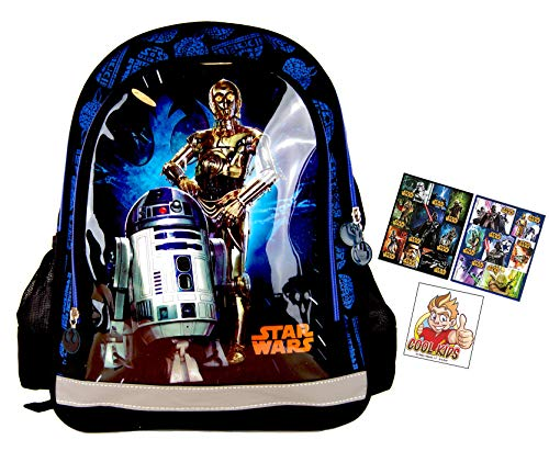 Star Wars der Mega Kult für die Schule - Rucksack/Schulrucksack- 38 x 28 x 17 cm - passend für DIN A4 - Motiv: R2D2 & C3PO + 16 Star Wars Aufkleber/Sticker