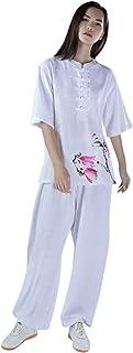 KSUA Womens Tai chi Suit Martial Arts Clothes Chinese Kung Fu Uniform Linen Yoga Suit for Wing Chun Zen Meditation