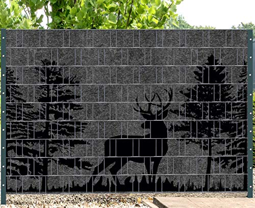 Melange mit schwarzen Motivdruck Sichtschutzstreifen für Doppelstabmattenzaun (Florenz Forest 3)