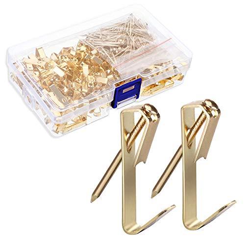 Gobesty Bildaufhänger mit Nägeln, 100 Stück 30 Pfund Goldene Bilderhaken Rahmenaufhänger Bilderhaken mit Nägeln Hardware zum Aufhängen für Leinwand Bilder Uhr Spiegel