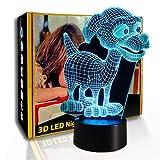 KangYD 3D Nachtlicht Hündchen, LED-Illusionslampe, Tischlampe, Wohnkultur, A - Black Base Berühren...