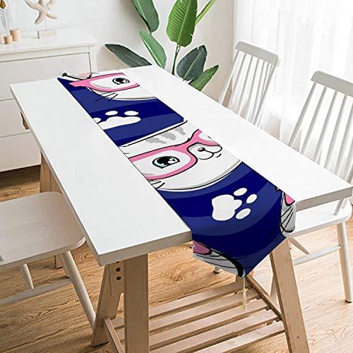 Camino de mesa de gato con gafas, corredores de mesa de felpa cortos hechos a mano para cenas, fiestas en interiores y exteriores, Halloween, Acción de Gracias, Navidad y reuniones, Inch-Cat con gafas
