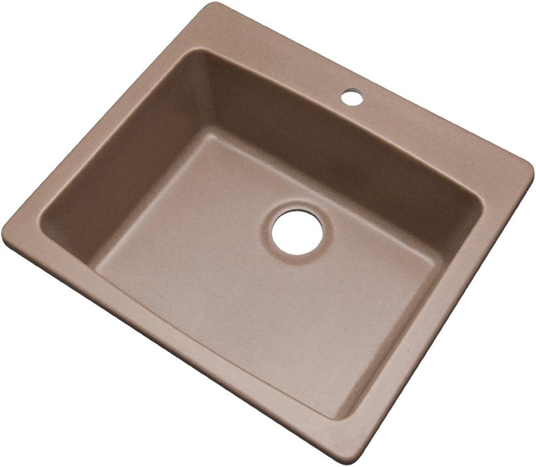Dekor Sinks 40104Q Bridgewood Composite Granite Single Bowl Sink with One Hole, 25 , Natural