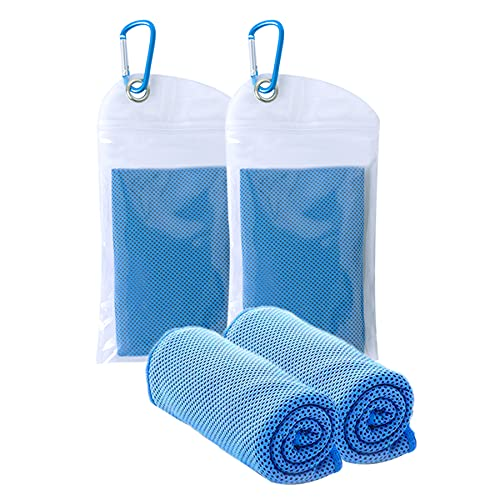 """[2 Pack] Cooling Towel (40""""x12""""), Microfiber Sports Towels,Ice Towel,Soft Breathable Chilly Towel for Yoga,Sport,Running,Gym,Workout,Camping,Fitness,Workout & More Activities"""