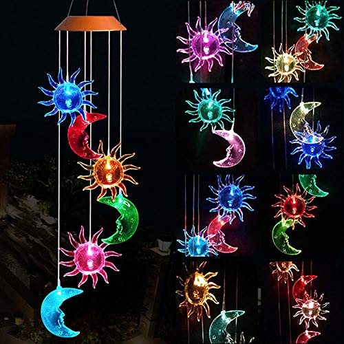 ME9UE Solar Powered Wind Spinner Light, 3 Suns and 3 Moons with 7 Colors Changing Wind Light, Waterproof Hanging Wind Chime Lamp Mobile Suspended Light for Home Outdoor Garden Lighting Decor