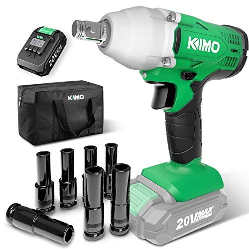 KIMO 20v Cordless Impact Wrench 1/2 inch, 170 Ft-lb High Torque 3400 IPM, Variable Speed, 7 Sockets Li-ion Battery with...
