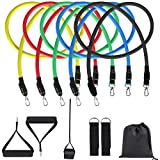 DAWAN Resistance Bands Set, Exercise Bands for Men and Women with Comfortable Handles and Door Anchor for Resistance Training and Home Workout with Portable Bag 11 Pack