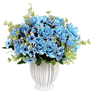 Homsunny Artificial Flowers in Vase, Fake Gardenia Flowers with Ceramics Vase, Silk Flower Arrangements for Homes Offices Dinning Roon Table Kitchen Desktop Decorate (Blue)