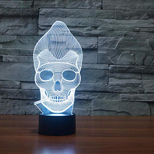 3D Night Light Skull 3D Visual Lamp Couleurs Change Illusion D'Optique Touch Table Desk Led Night Light Great Kids Gifts Décoration De La Maison