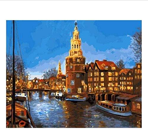 Jkykpp DIY olieverfschilderij laat landschapsschilderij op cijfers DIY olieschilderij schilderij muurkunst kleur volgens cijfers digitale schilderijen Home Decor 40 * 50cm