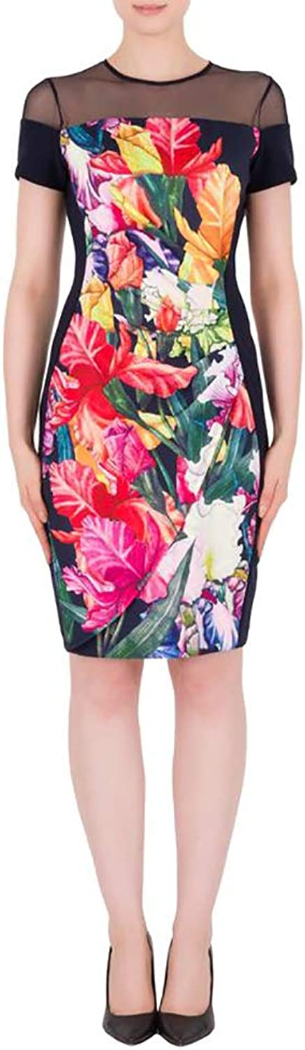Joseph Ribkoff Floral Dress with Mesh