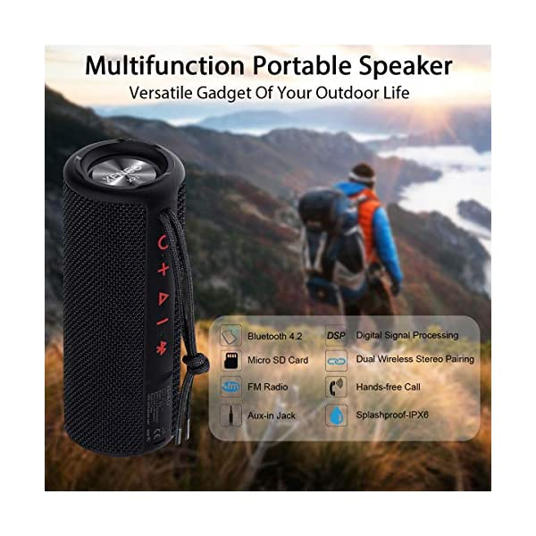 Portable Wireless Speaker Waterproof with TWS, FM Radio, Micro SD Card MP3 Player for Outdoor 4