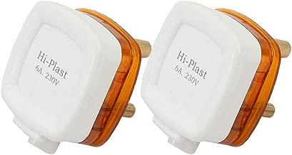 Hi-PLASST Fire Retardant Polycarbonate 6A 3 Pin Square Model Plug Top, 2 Pieces