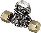 AMOZ Colgante de Collar con Mancuernas de Plata de Ley 925 de Dos Tonos, Tono Dorado para Hombres Y Mujeres