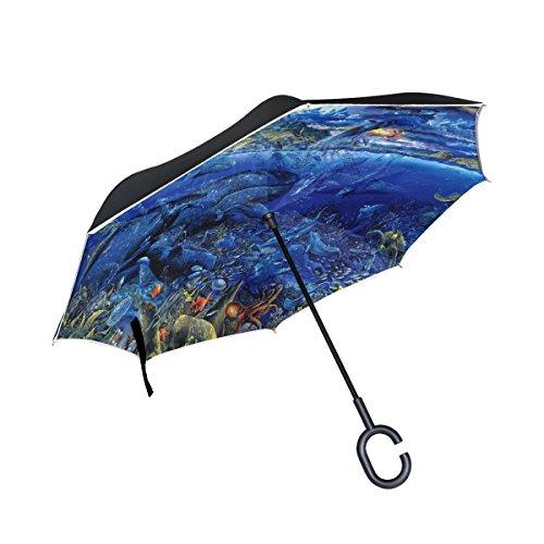 ISAOA großer Regenschirm, umgekehrter Regenschirm, winddicht, doppellagig, blauer Regenschirm für Auto-Regen im Freien, C-förmiger Regenschirm