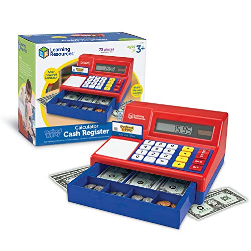 Learning Resources Pretend & Play Calculator Cash Register, Classic Counting Toy, Kids Cash Register, 73 Pieces, Ages 3+
