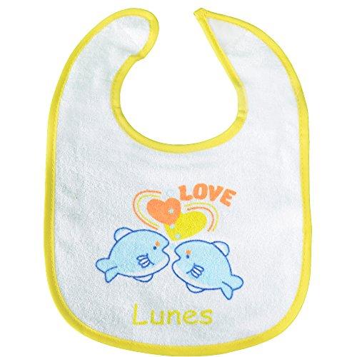 PEKITAS Set de 7 bavoirs pour bébé; Fermeture réglable et douce, avec couche imperméable, devant...