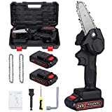 WSQIWNI Mini Chainsaw with 2Pcs Chain, 4-Inch Cordless Electric Protable Chainsaw One-Hand 0.7kg Lightweight, Pruning Shears Chainsaw for Tree Branch Wood Cutting (2Pcs Batteries)