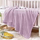 Exclusivo Mezcla Soft Plush Fuzzy Fleece Baby Blanket Throw Blanket for Boys, Girls, Toddler and Kids Nap Blankets for Crib Bedding, Nursery, and Security (40x50 inches, Lilac Purple)