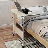 soges Laptoptisch Beistelltisch mit Rollen,PC Tisch Notebook Sofatisch Laptopständer Notebookständer Pflegetisch für Bett und Sofa,80x40cm,Weiß 05#1-80MP
