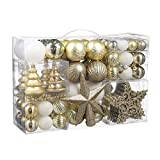 Christmas Ball Ornaments, 100 Pcs Assorted Shatterproof Christmas Ball Set with Gift Package, for Christmas Tree Decor(Golden and White)