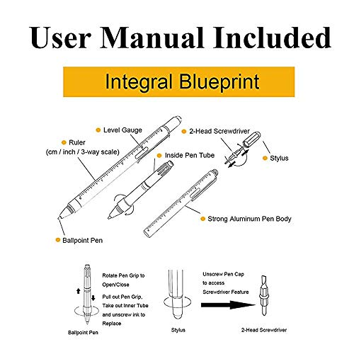 Multitool Pen [2 Pack] Stylus Pen 9-in-1 Combo Pen [Functions as Touchscreen Stylus, Ballpoint Pen, 4