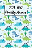 2021-2022 Monthly Planner: Dinosaur Planner Diary with Holidays, Calendar, Notes, Contact Organizer, To-Do List | Cute Dino Gifts for Women, Girls, Boys, Adults, Christmas