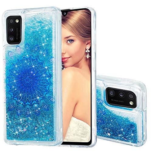 Miagon Flüssig Hülle für Samsung Galaxy A41,Glitzer Weich Treibsand Handyhülle Glitter Quicksand Silikon TPU Bumper Schutzhülle Case Cover-Blau Totem Blume