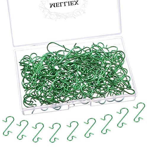 MELLIEX 120pcs Christmas Bauble Ornament Hooks S-Shaped Metal Hanger Mini Stainless Steel Hooks for Hanging Xmas Tree Decoration, Green