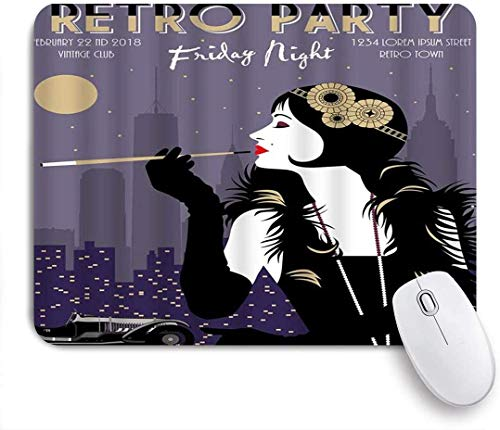 Mausmatte Mauspad Schönheit Zigarette Retro Kunst Party Auto Feder Mode Eleganz Mode Nacht maßgeschneiderte Kunst Mousepad rutschfeste Gummibasis für Computer Laptop Schreibtisch Zubehör