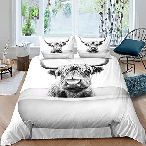 Homewish Highland Vieh Bettbezug 200x200, Funny Stier Vieh Bettwäsche-Set für Kinder Jungen Mädchen Teenager, Western Cowboy Trösterbezug Bauernhof Tier Kuh Tagesdecke mit 2 Kissenbezüge, Grauweiß