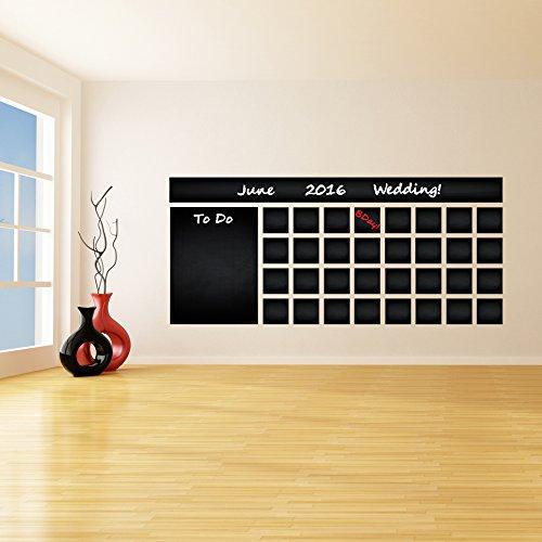 AnOL (240x106 cm) Blackboard Vinyl muursticker kalender met te doen lijst/krijtbord uitwisbare muur/maand planner Sticker voor tekenen + gratis kleurpotloden doos