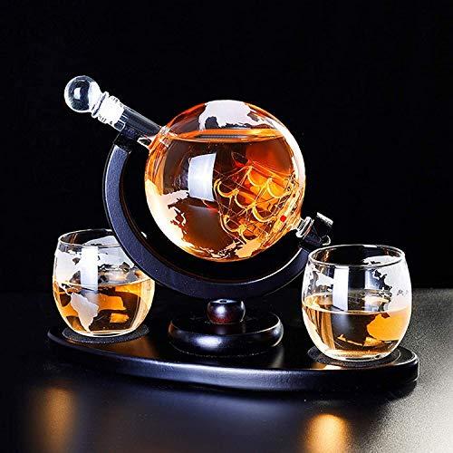 Tophacker Juego de decantador de whisky con 2 vasos de whisky para licor, whisky, bourbon, vodka, gran regalo, 1000 ml