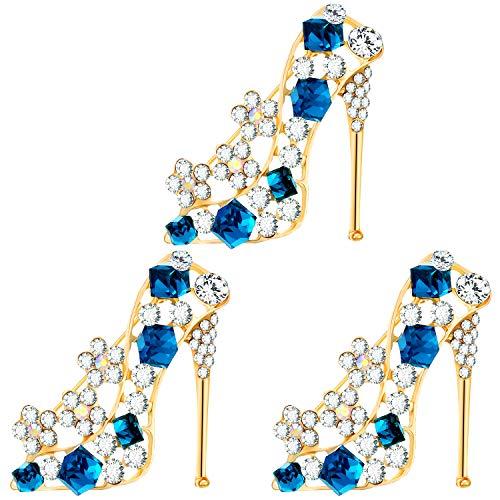 WILLBOND 3 Stück Strass High Heels Schuhe Form Broschen Pins Schmuck Accessoires für Frauen