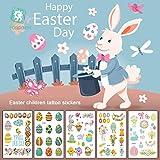 Katyma Easter Eggs Tattoos Set of Eggs Stickers para la Fiesta de celebración de Pascua Regalo de Regalo Girl Boy 12 Sheets