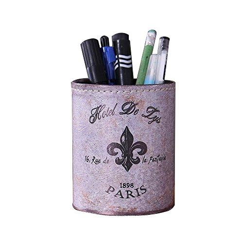 LINKWELL Antique French Country Fleur De Lis Lys PU leather Pencil Pen Holder Desk Organizer PH02