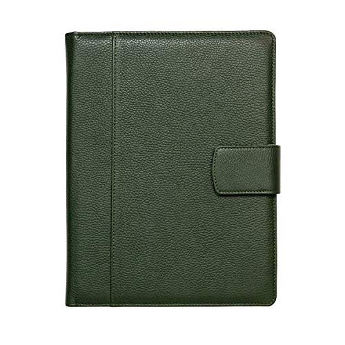 Maruse Italian Leather Executive Padfolio, Folder Organizer with Magnetic Closure and Writing Pad, Handmade in Italy, Dark Green