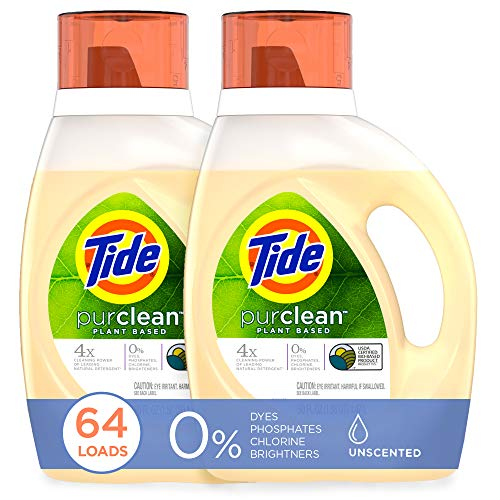 Tide Purclean Plant-Based Laundry Detergent Liquid, Unscented, HE...