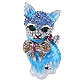 [エバーフェイス] EVER FAITH ブローチ クリスタル エナメル リボン ネコ 猫 ピン ブルー シルバートーン