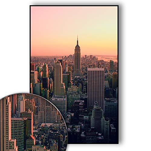 New York Poster Skyline - New York Bild Empire State Building - Wandbild New York City - Skyline, NYC, USA, Sunset Over Manhattan - Wanddeko - Kunstdruck (70 x 50 cm)