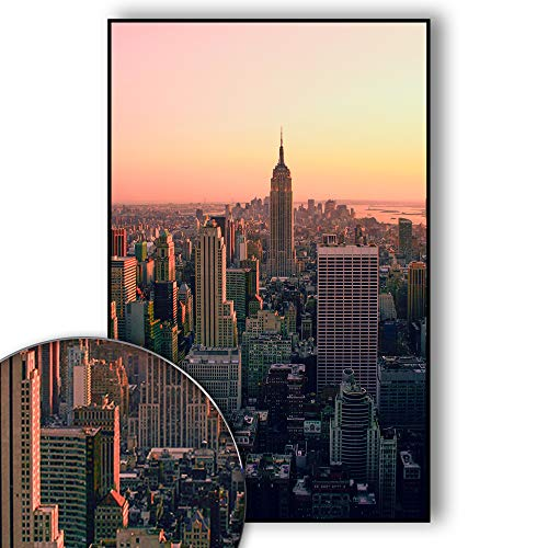 New York Poster Skyline - New York Bild Empire State Building - Wandbild New York City - Skyline, NYC, USA, Sunset Over Manhattan - Wanddeko - Kunstdruck (70 x 50 cm)