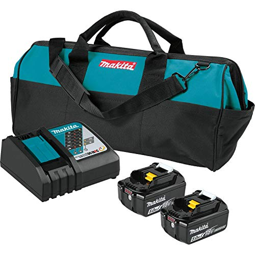 Makita BL1850BDC2X 18V LXT Lithium-Ion Battery and Rapid Optimum Charger Starter Pack (5.0Ah)