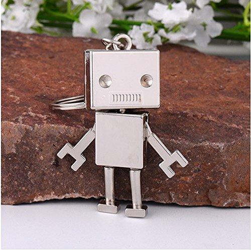 Familienkalender eckiger beweglicher Roboter Schlüsselanhänger Figur bewegliche Arme und Beine | Spielzeug | Geschenk | Kind | Männer | silberfarben