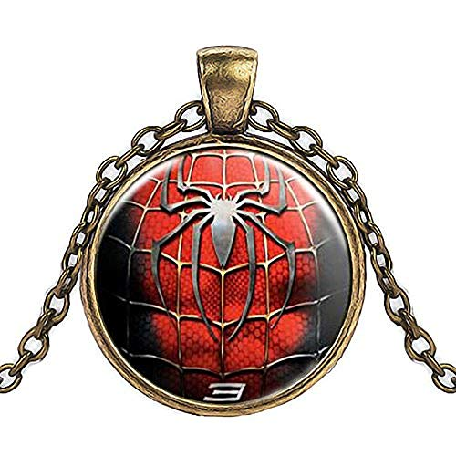 POIUIUYH Co.,ltd Necklace Vintage Jewelry League Hero Captain America Spider Men Glass Pendant Necklace Plated Silver Declaration Necklace