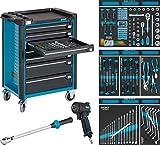 Hazet Werkstattwagen Assistent mit Sortiment 179-7/145 flach: 5x 74 Schubladen hoch: 2x 159x519x398 mm ∙ Höhe x Breite x Tiefe: 1040 x 817 x 502 ∙ Anzahl Werkzeuge: 145