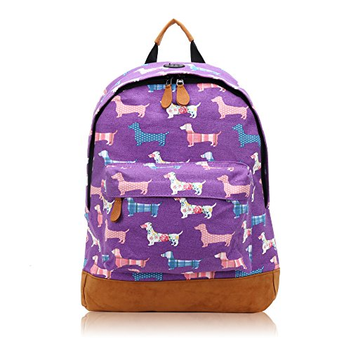 Retro Elephant Scotty Dog Woodland Polka Dot Sausage Dog Design Canvas Classic Backpack Rucksack School Bag College Shoulder Bag Hiking Gym Casual (Sausage - Purple)