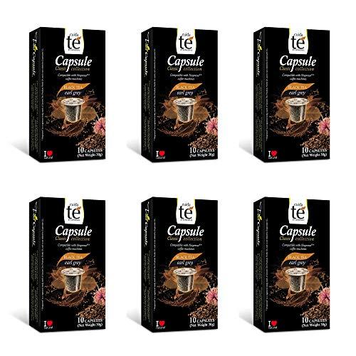 CUIDA TÉ - Te Nego Capsulas Nespresso, Te Negro Earl Grey, Compatibles con Maquinas Nespresso, 60 Capsulas Te Negro Earl Grey